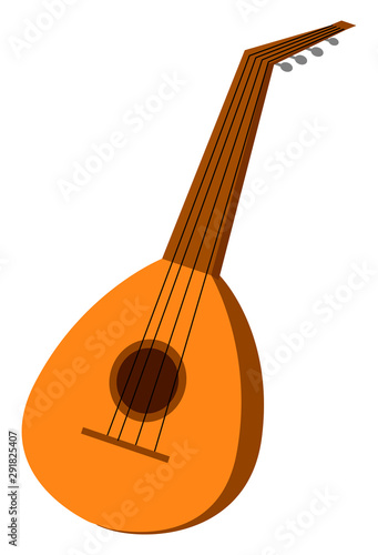 Small lute, illustration, vector on white background. Canvas Print