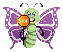 Butterfly With Stop Sign, Illu...