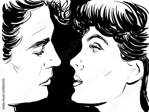 Couple Amour Sensuel Croquis Noir Et Blanc Visage De Profil Homme