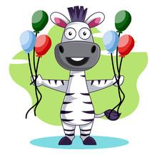 Zebra With Balloons Illustration Vector On White Background.