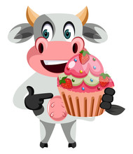 Cow With Cake Illustration Vector On White Background.