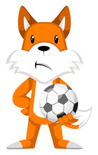 Fox With Football Illustration...