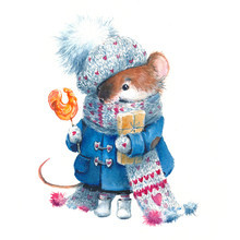 Christmas Watercolor Mouse, In...