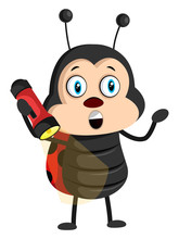 Lady Bug With Flashlight, Illustration, Vector On White Background.