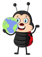 Lady Bug With Globe, Illustration, Vector On White Background.