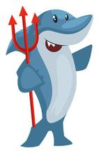 Shark With Devil Spear, Illustration, Vector On White Background.