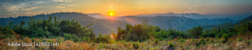 Panorama view beautiful of morning sunrise over at mountain