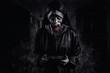 Leinwanddruck Bild - Horror Scene of a Possessed terrible image of a nun