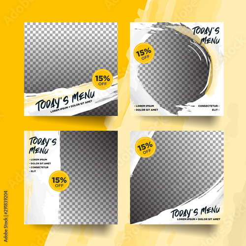 Cuadros en Lienzo  Set of trendy yellow abstract culinary social media post promotion menu layout t
