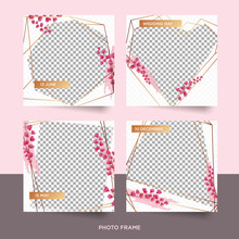 Set Of Beautiful Floral Photo Frame, Social Media Picture, Decoration, Scrapbook Template