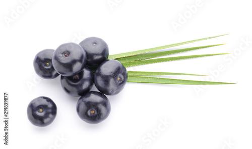 Fresh acai berries on white background Canvas Print