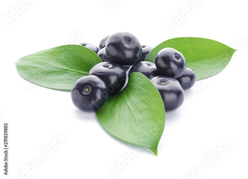 Fresh acai berries on white background Wallpaper Mural