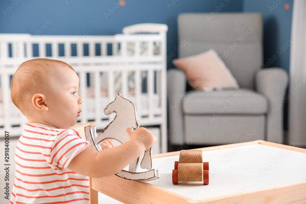 Fototapety, obrazy: Cute little baby playing at home