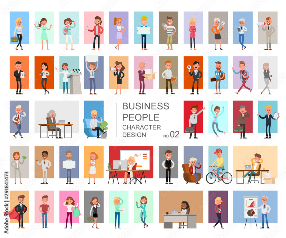 Fototapeta Business people working character vector design. Presentation in various action with emotions, running, standing and walking. no2