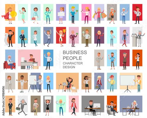 Fototapeta  Business people working character vector design