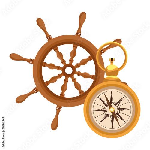Photo  marine navigation helm with compass