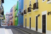 Street Views Of Old Colorful Buildings In Old San Juan Puerto Rico