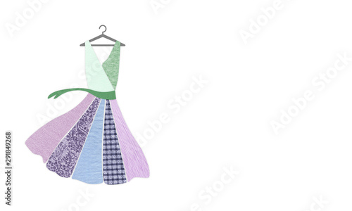 Fotografie, Obraz Dress on hanger made with recycled fabric textures with copy space
