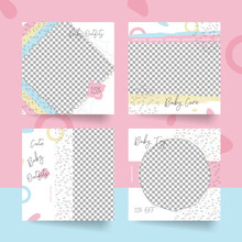 Set Of Cute Colorful Pastel Baby Social Media Post Template