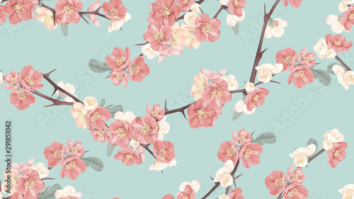 Floral seamless pattern, Japanese quince flowers on blue, pastel vintage theme