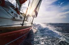 Sailing Yacht Sails On The Sea...