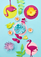 Paper Handcraft Pattern, Greeting Card With Tropical Leaves, Butterfly And Pink Flamingo On A Blue Background. Flat Lay