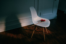 A Red Daisy On Top Of A White Chair In The Kitchen With A Ray Of Light