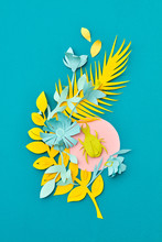 Creative Decorative Handmade Congratulation Card From Colorful Paper With Various Tropical Leaves And Beetle On A Blue. Flat Lay