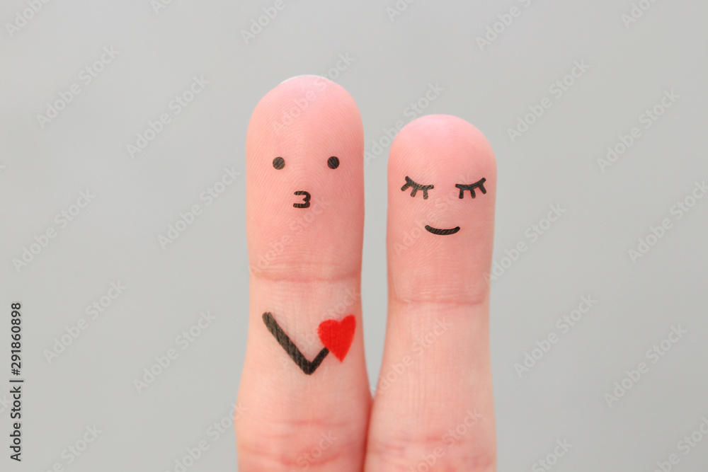 Fototapety, obrazy: Fingers art of happy couple. Concept of man confessing his love to woman.