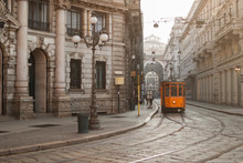 Old Milano Spot With Tram In T...