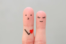 Fingers Art Of Happy Couple. Concept Of Man Confessing His Love To Woman.