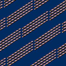 Golden Drinking Straw Pattern On Navy Blue