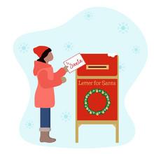 New Year 2020, Merry Christmas Santa Mailbox Child
