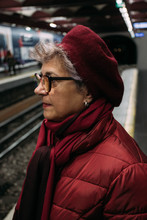 Woman Waiting In The Metro Station