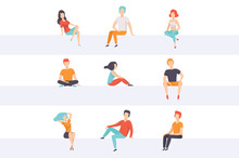 Diverse People Sitting On Diff...