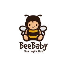 Cute Bee Baby Mascot Logo Illu...