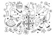 Symbol 2020 rats, mouse unpack gifts and enjoy the holiday. Big set of festive elements. Hand drawn vector illustration in scandinavian style. Cristmas and New Year elements for design.