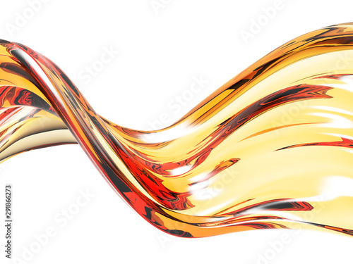 Fond de hotte en verre imprimé Abstract wave Yellow shiny transparent liquid splash