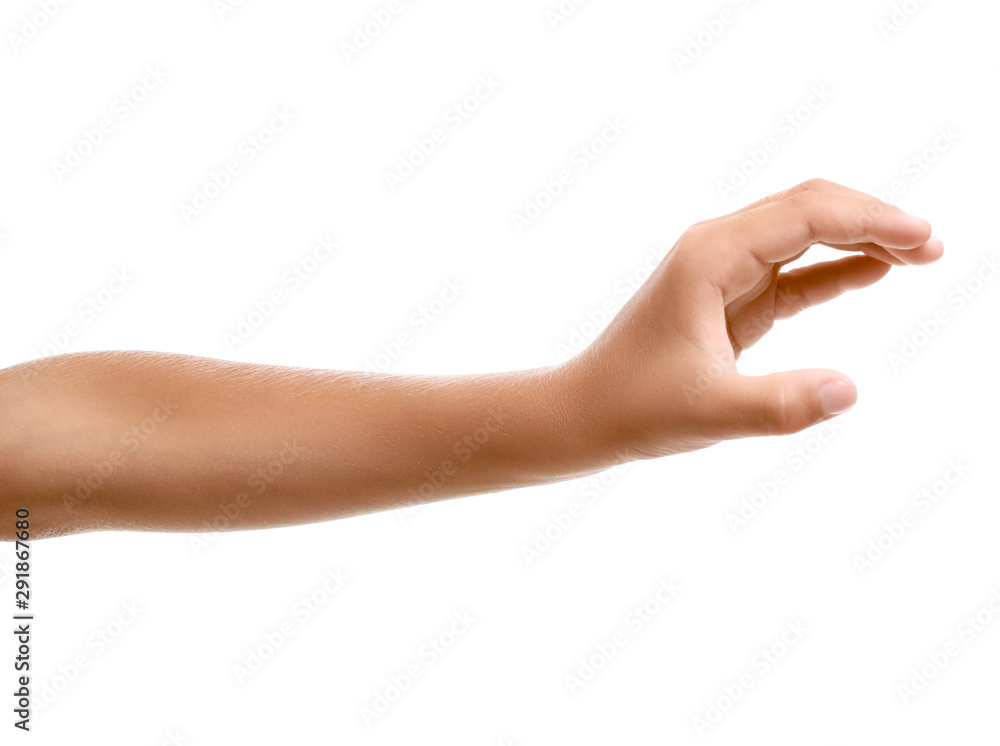 Fototapeta Child's hand holding something on white background