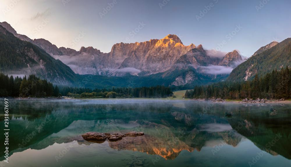 Fototapety, obrazy: Panorama of a beautiful mountain lake in the Italian Julian Alps-Laghi di Fusine