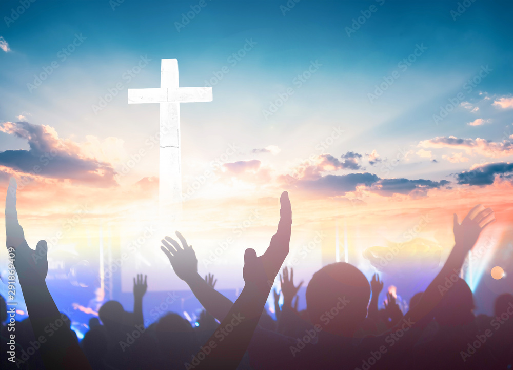 Fototapety, obrazy: Worship and praise concept: christian people hand rising on sunset background