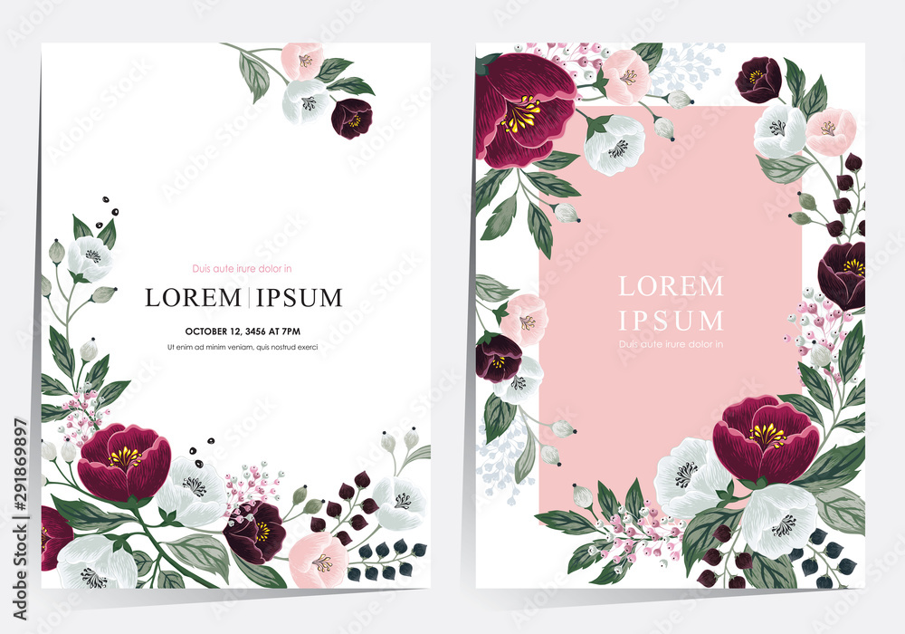 Fototapety, obrazy: Vector illustration of a beatiful floral frame set in summer for Wedding, anniversary, birthday and party. Design for banner, poster, card, invitation and scrapbook