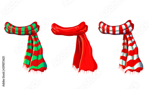 Valokuvatapetti vector winter red scarf collection isolated on white background