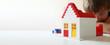 canvas print picture - Junge baut mit Bausteinen ein Wohnhaus