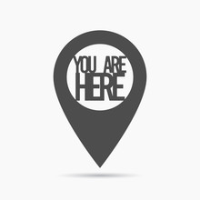 Gps Pin You Are Here. Vector Icon Over White Background