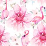 Akwarela bezszwowe wzór. Kwiatowy wzór z flamingami i piwoniami. Ręcznie rysowane ilustracji - 291878659