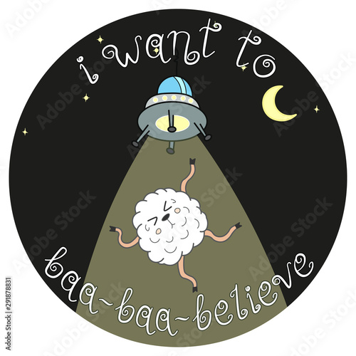 Photo funny doodle sheep and ufo, cartoon drawing animal, night stars and moon backgro