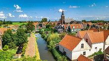 Aerial Drone View Of Marken Is...