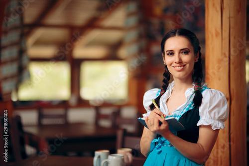 Oktoberfest Bavarian Waitress Taking Order at a Restaurant Canvas Print