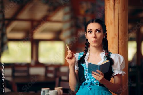 Oktoberfest Bavarian Waitress Taking Order at a Restaurant